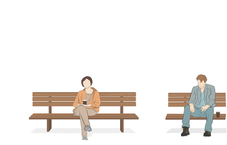 A man with a woman is sitting on a bench and drinking coffee. vector illustration.