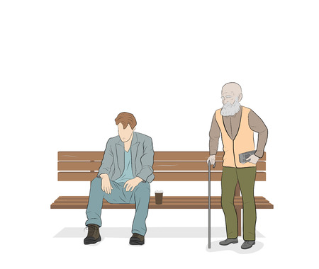 a young man sitting on a bench. concept of human life. vector illustration. aging process.