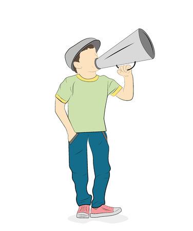 the boy speaks into a megaphone. vector illustration.