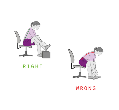 right and wrong positions for tying shoelaces, Vector illustration. 일러스트