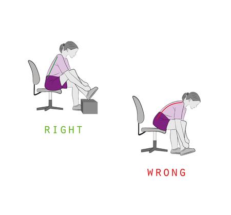 Bonnes et mauvaises positions pour attacher les lacets, illustration vectorielle. Banque d'images - 95984269
