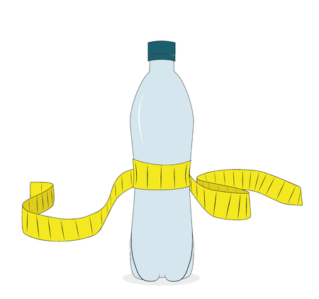 Yellow tape measure and water bottle. slimming concept vector illustration.