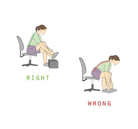 Right and wrong positions for tying shoe lace illustration.