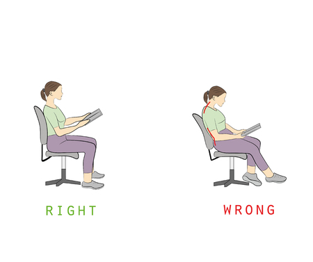 Posture while reading a book. vector illustration. Illustration