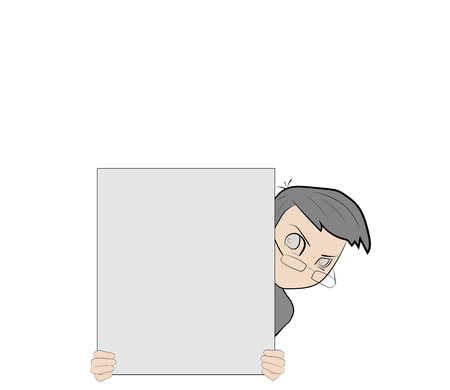 Businessman holding an empty sheet of paper in front of him. Representation of business. Vector illustration.
