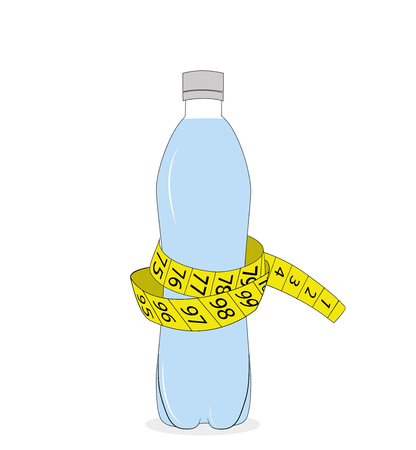 Yellow tape measure and water bottle. slimming concept. vector illustration.