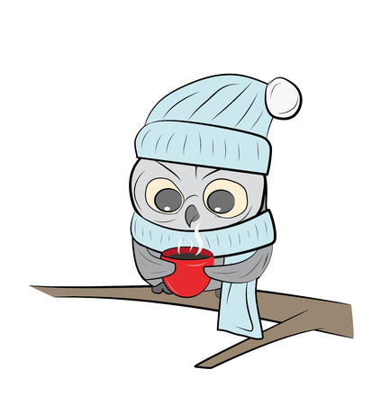 An owl with a cup of tea sits on a branch. snowy winter. vector illustration.