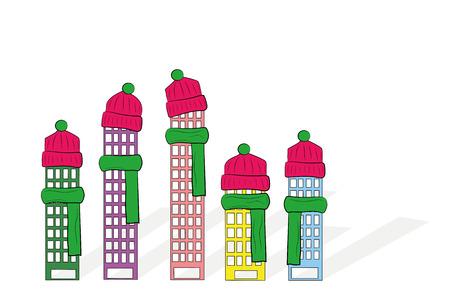 Häuser in einen Hut und in einen Schal gewickelt. Vektor-Illustration. Vektorgrafik