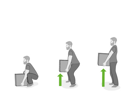 Correct posture to lift. Illustration of health care. Vector illustration Иллюстрация