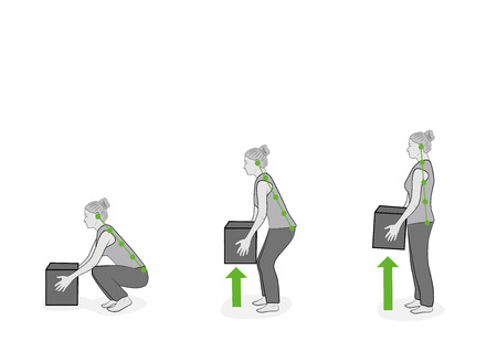 Correct posture to lift. Illustration of health care. Vector illustration Illusztráció