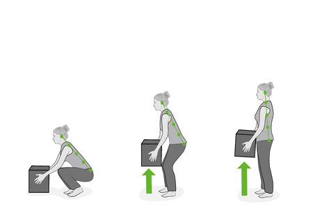 Postura correcta para levantar. Ilustración de la asistencia sanitaria. Ilustración vectorial
