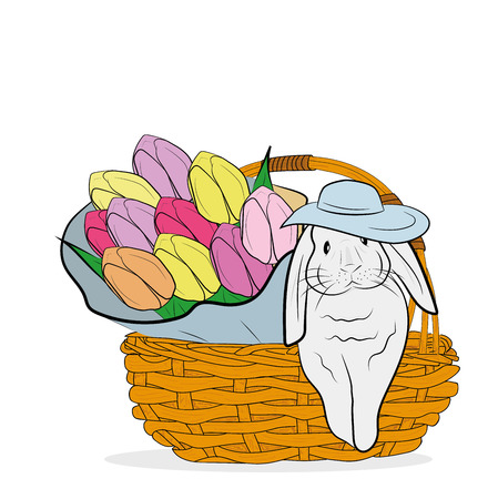a rabbit is sitting in a basket with a bouquet of flowers. the concept of spring and the Easter holiday. vector illustration. Vektorové ilustrace