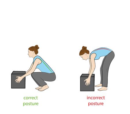 Correct posture to lift. Illustration of health care. Vector illustration 일러스트