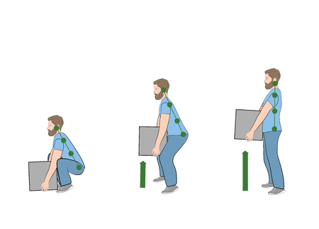 Correct posture to lift. Illustration of health care. Vector illustration