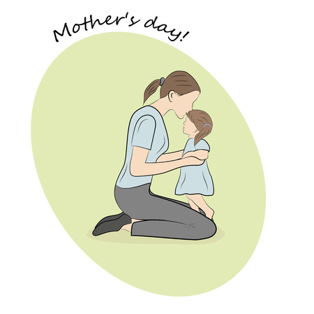 mother kisses a small daughter. Happy Mothers Day concept. vector illustration.