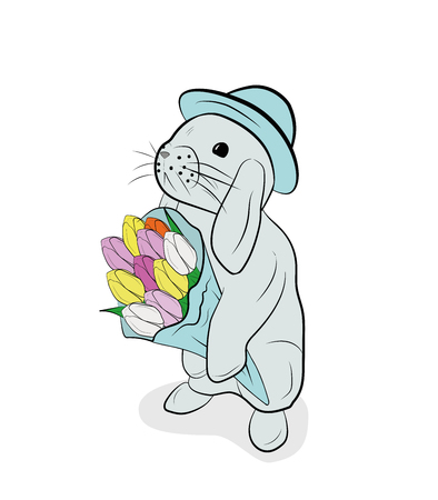 rabbit with a bouquet of flowers, tulips. the concept of spring and the Easter holiday. vector illustration.