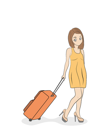 young beautiful girl in a light dress is walking with a suitcase. vector illustration.