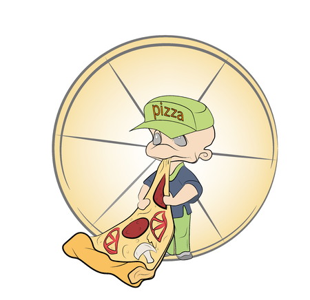 man eating a slice of pizza. vector illustration. 矢量图像