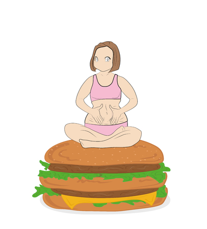 fat woman sitting on a hamburger. concept of fast food. proper nutrition. vector illustration.