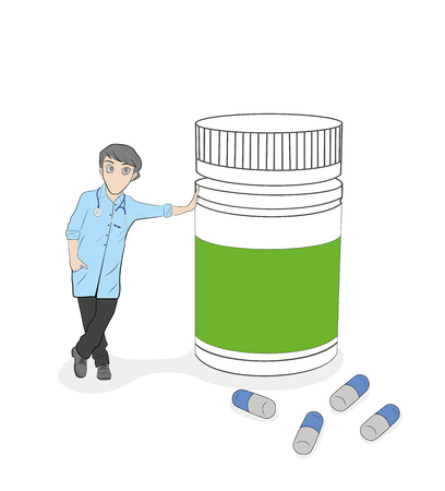 doctor  standing next to a bottle of pills. vector illustration.  イラスト・ベクター素材