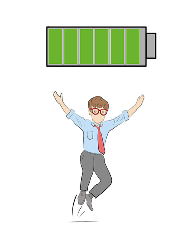 active person. fully charged battery. the concept of a person. vector illustration.