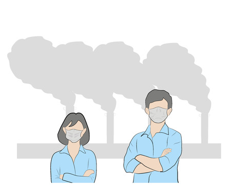 People in masks because of fine dust. hand drawn style vector doodle design illustrations. air pollution. vector illustration. Stock Illustratie
