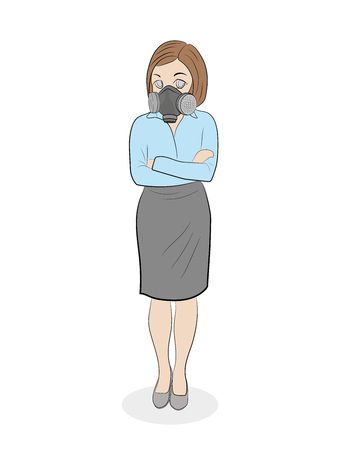 women protection cartridge respirator gas mask - close up. vector illustration 向量圖像