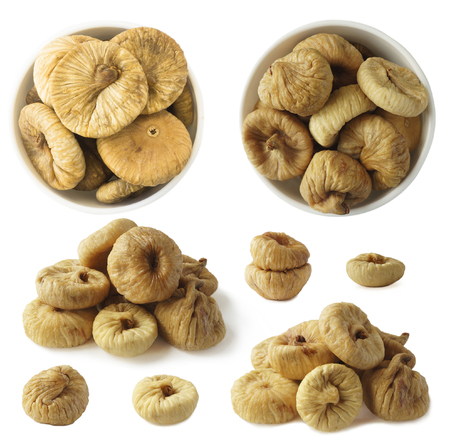 Set of figs isolated on white background. Collage of dried fruit with copy space for text. Stock Photo