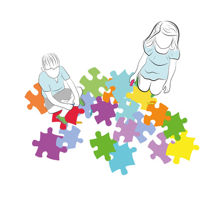children are sitting above the puzzles with the symbol of autism. vector illustration.
