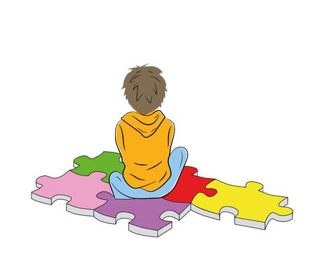 chłopiec siada na puzzlach symbol autyzmu. ilustracji wektorowych.
