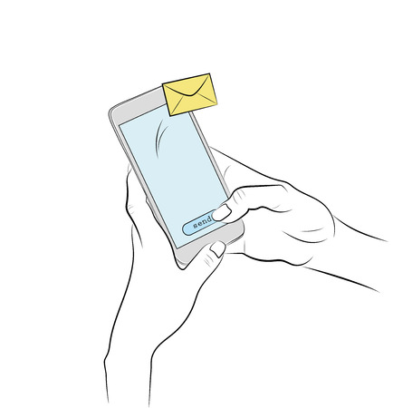 sending sms from phone. Hands hold the phone. vector illustration. Stock Illustratie