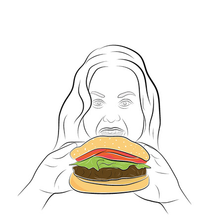 the girl is fast food. the problem of obesity and overeating. vector illustration. Illustration