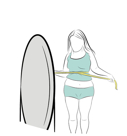 the girl tightens the meter at the waist. obesity. losing weight. vector illustration.