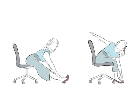 exercise to relieve fatigue in the office. Rest in the office. vector illustration. Иллюстрация