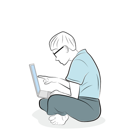 man is holding a laptop on his lap. not correct posture when working. vector illustration.