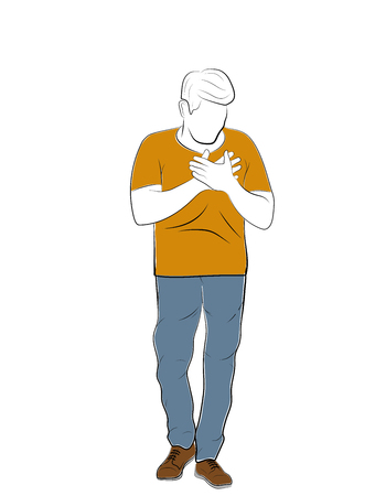 man holds his hands to the heart. heart disease. vector illustration.