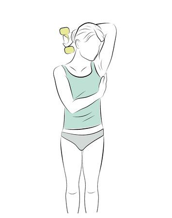 girl doing exercises with dumbbells. vector illustration.