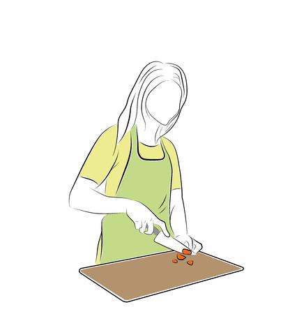 A woman in the kitchen. vector illustration Vektorové ilustrace