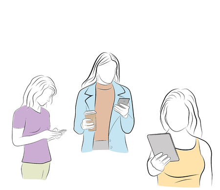 young people are looking into their gadgets. communication in social networks. vector illustration.