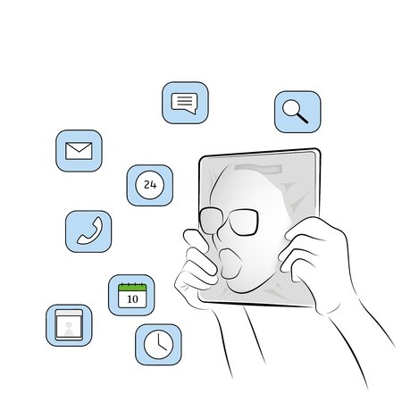 the person enters the tablet. immersed in the world of the Internet and social networks. vector illustration.