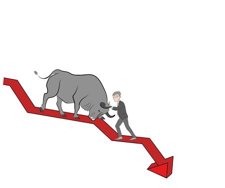 la personne arrête le taureau sur la carte. tendance haussière. crypto monnaie. illustration vectorielle. Vecteurs