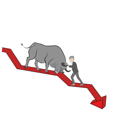 the person stops the bull on the chart. bullish trend. crypto currency. vector illustration.