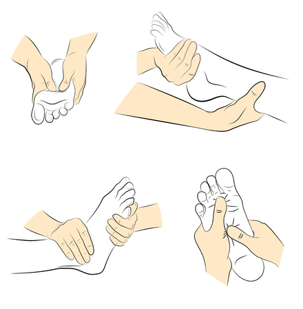 foot massage. hand movements for feet massage. medical recommendations. vector illustration.