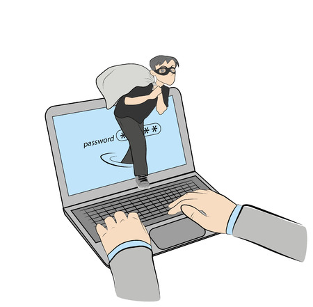 the person with the bag. theft in the network. vector illustration.