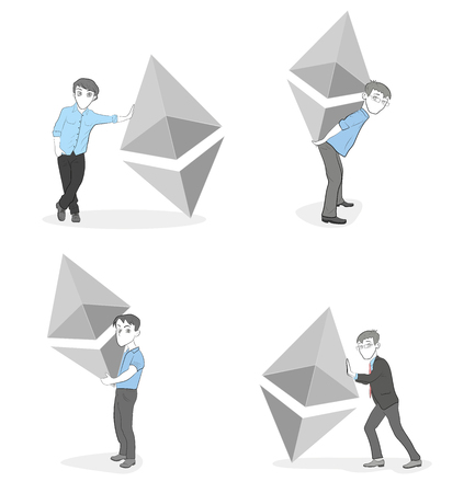 people with coins, cryptocurrency. crypto-instruments.ethereum symbol. vector illustration