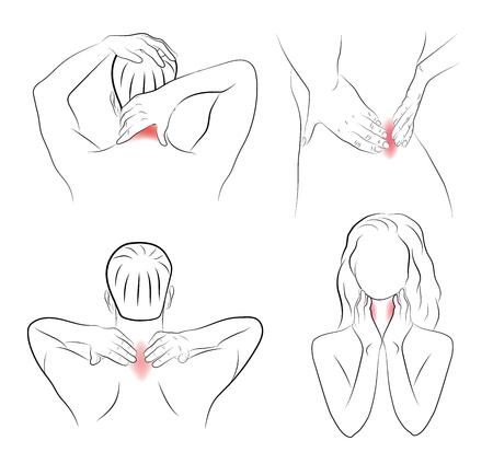 dolor en diferentes partes del cuerpo. automasaje. recomendaciones médicas. ilustración vectorial.