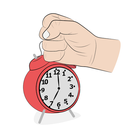 the man strikes his hand on the alarm clock. get up early. vector illustration.