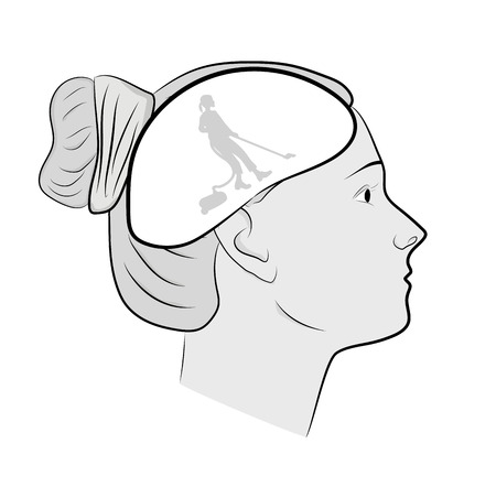 head of a woman. cleaning in the head. putting things in order in thoughts. vector illustration.