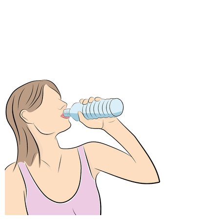 the girl is drinking water. playing sports. vector illustration.