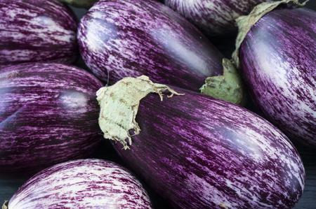 Background of fresh eggplant. Aubergine vegetable. Purple eggplant (aubergine). Top view. Purple food.